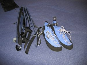 Rock climbing shoes and harness