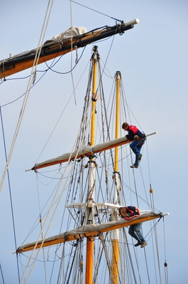 Dudes working in the rigging of tall ships at the harbour