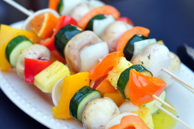 Veggie shish ka bobs waiting to be grilled