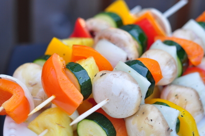More veggie shish ka bobs waiting to be grilled