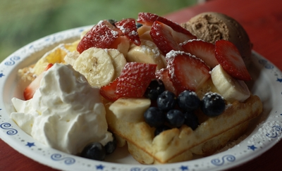 Delicious waffle with chocolate ice cream, whipped cream, strawberries, bananas, and blueberries