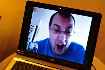 We even chatted on Skype a bit with Patrick! He makes silly faces.