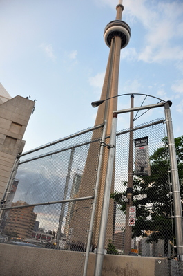 CN Tower with fences