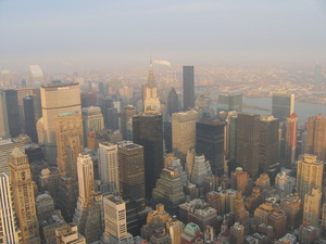 Picture from the Empire State Building looking north-east towards the Chrysler Building