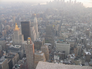 Picture from the Empire State Building looking south towards the financial district, skyline missing the World Trade Centre, Statue of Liberty barely visible in top right corner