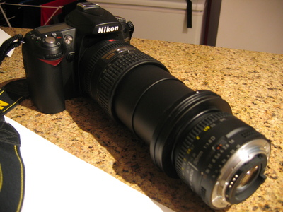 My D90, with an 18-200mm lens fully extended and a 50mm mounted on the end in reverse