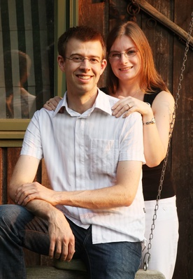 Engagement photo, Kim and I in front of shed