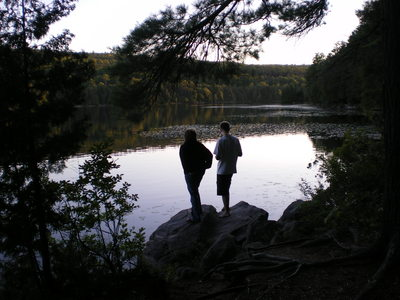 My mom and I looking out over the lake