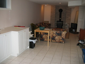 The kitchen and living room at McDougall