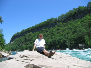 Me on a rock in front of the Niagara River