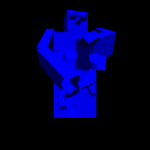 An OpenGL robot made mostly of scaled cubes with rotating joints