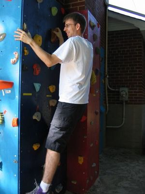 Rock climbing -- cheating with my hand on the wall