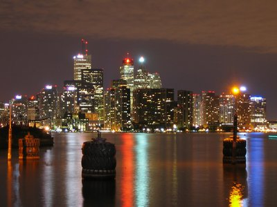Toronto at night from the island